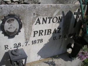 Anton Pribaz grave stone with the picture from 19th century from a graveyard near Koper